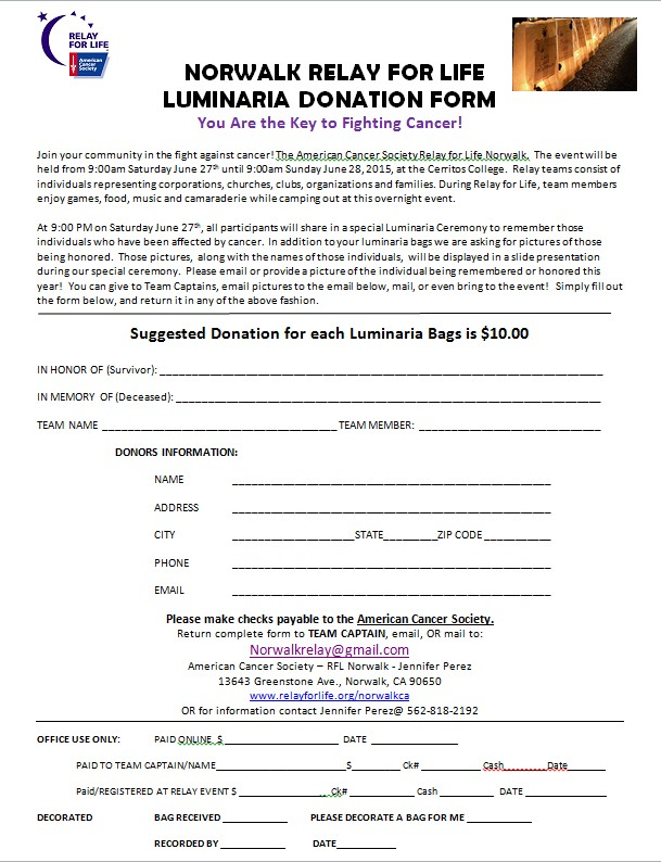 Relay For Life of Brillion 2013 Announcements
